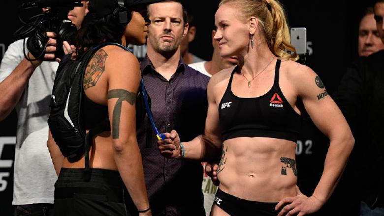 EDMONTON, AB - SEPTEMBER 08:  (L-R) Opponents Amanda Nunes of Brazil and Valentina Shevchenko of Kyrgyzstan face-off during the UFC 215 weigh-in inside the Rogers Place on September 8, 2017 in Edmonton, Alberta, Canada. (Photo by Jeff Bottari/Zuffa LLC/Zu