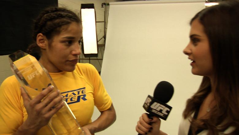 Julianna Pena Holds Her Trophy after Winning TUF 18