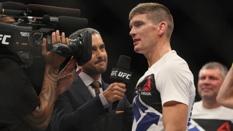 LAS VEGAS, NV - JULY 12:  Stephen Thompson speaks with Jon Anik after defeating Jake Ellenberger in their welterweight bout during the Ultimate Fighter Finale inside MGM Grand Garden Arena on July 12, 2015 in Las Vegas, Nevada.  (Photo by Mitch Viquez/Zuf
