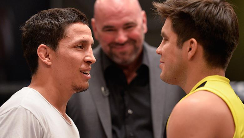 LAS VEGAS, NV - AUGUST 10:  (L-R) Joseph Benavidez and Henry Cejudo face off during the filming of The Ultimate Fighter: Team Benavidez vs Team Cejudo at the UFC TUF Gym on August 10, 2016 in Las Vegas, Nevada. (Photo by Brandon Magnus/Zuffa LLC/Zuffa LLC