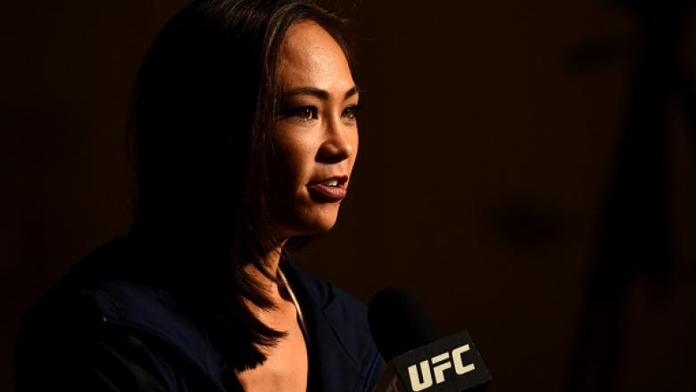DETROIT, MI - NOVEMBER 30:  Michelle Waterson interacts with media during the UFC 218 Ultimate Media Day at the DoubleTree Hotel on November 30, 2017 in Detroit, Michigan. (Photo by Josh Hedges/Zuffa LLC via Getty Images)