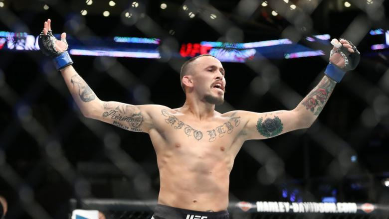 UNIONDALE, NY - JULY 22: Marlon Vera celebrates his submission win over Brian Kelleher (not shown) in their UFC Fight Night bantamweight bout at the Nassau Veterans Memorial Coliseum on July 22, 2017 in Uniondale, New York. (Photo by Ed Mulholland/Getty I