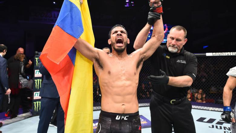 UTICA, NY - JUNE 01:  Julio Arce celebrates after submitting Daniel Teymur of Sweden in their featherweight fight during the UFC Fight Night event at the Adirondack Bank Center on June 1, 2018 in Utica, New York. (Photo by Josh Hedges/Zuffa LLC/Zuffa LLC