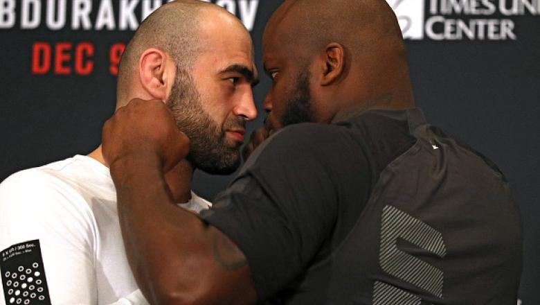ALBANY, NY - DECEMBER 08: (L-R) Opponents Shamil Abdurakhimov and Derrick Lewis face off during UFC Fight Night weigh-ins at the Hilton Albany on December 8, 2016 in Albany, New York. (Photo by Patrick Smith/Zuffa LLC/Zuffa LLC via Getty Images)