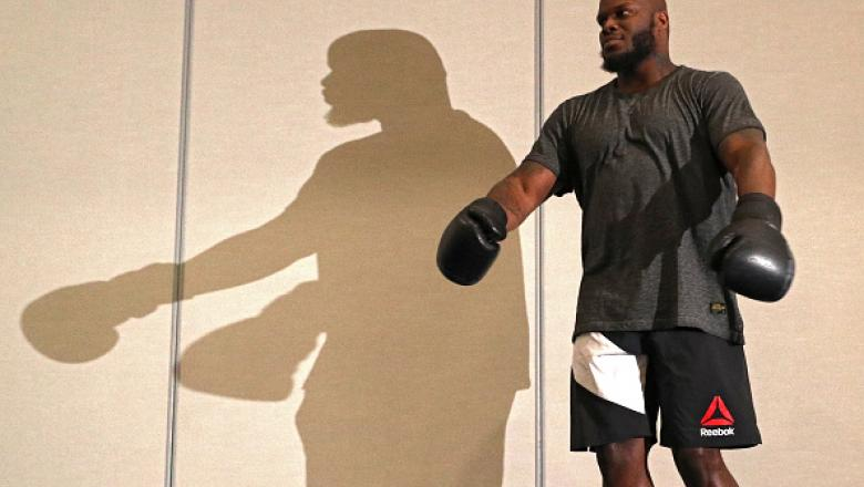ALBANY, NY - DECEMBER 07: UFC heavyweight Derrick Lewis holds an open training session for the media and fans at the Hilton Albany on December 7, 2016 in Albany, New York. (Photo by Patrick Smith/Zuffa LLC/Zuffa LLC via Getty Images)