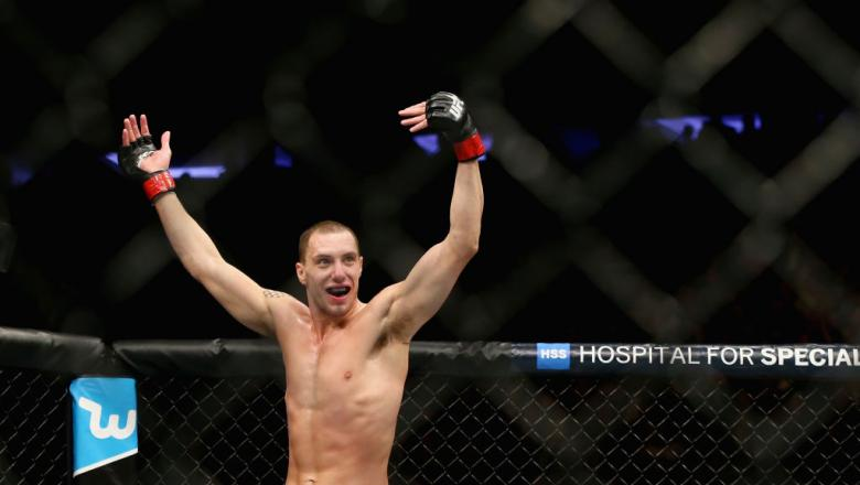 NEW YORK, NY - NOVEMBER 04:  James Vick celebrates after bringing down Joe Duffy of Ireland in their lightweight bout during the UFC 217 event at Madison Square Garden on November 4, 2017 in New York City.  (Photo by Mike Stobe/Getty Images)
