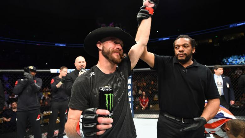 AUSTIN, TX - FEBRUARY 18:  Donald Cerrone celebrates after defeating Yancy Medeiros by KO in their welterweight bout during the UFC Fight Night event at Frank Erwin Center on February 18, 2018 in Austin, Texas.  (Photo by Josh Hedges/Zuffa LLC/Zuffa LLC v