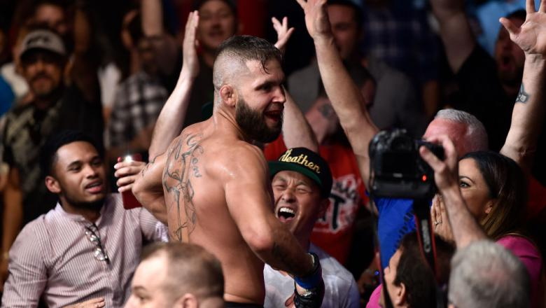 ORLANDO, FL - FEBRUARY 24:  Jeremy Stephens celebrates after his knockout victory over Josh Emmett in their featherweight bout during the UFC Fight Night event at Amway Center on February 24, 2018 in Orlando, Florida.  (Photo by Jeff Bottari/Zuffa LLC/Zuf