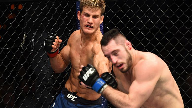 AUSTIN, TX - FEBRUARY 18:  Sage Northcutt (L) punches Thibault Gouti of France in their lightweight bout during the UFC Fight Night event at Frank Erwin Center on February 18, 2018 in Austin, Texas.  (Photo by Josh Hedges/Zuffa LLC/Zuffa LLC via Getty Ima
