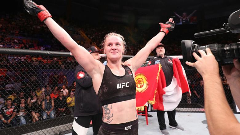 BELEM, BRAZIL - FEBRUARY 03:  Valentina Shevchenko of Kyrgyzstan celebrates her victory over Priscila Cachoeira of Brazil in their women's flyweight bout during the UFC Fight Night event at Mangueirinho Arena on February 03, 2018 in Belem, Brazil. (Photo