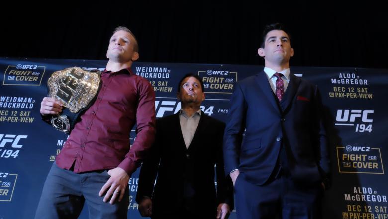 TJ Dillashaw and Dominick Cruz at UFC 194 media day