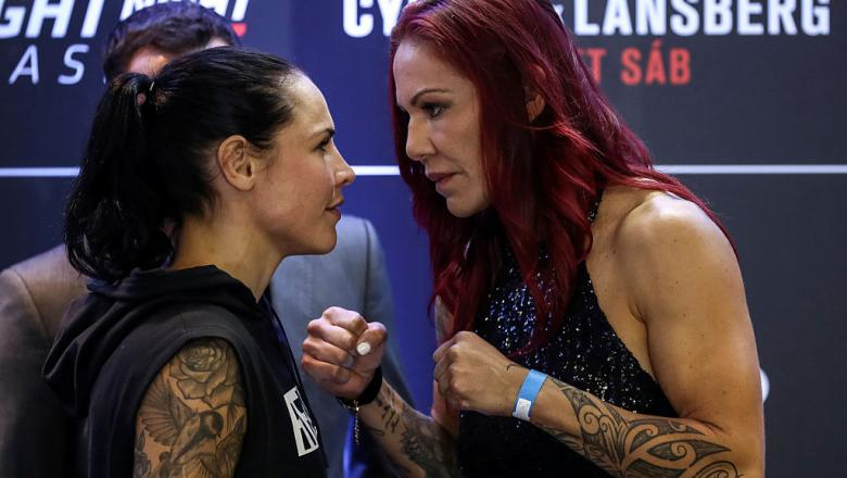BRASILIA, BRAZIL - SEPTEMBER 22: Catchweight fighters Cris Cyborg Justino (R) of Brazil and Lina Lansberg of Sweden face off during Ultimate Media Day at Windsor Brasilia Hotel on September 22, 2016 in Brasilia, Brazil. (Photo by Buda Mendes/Zuffa LLC/Zuf