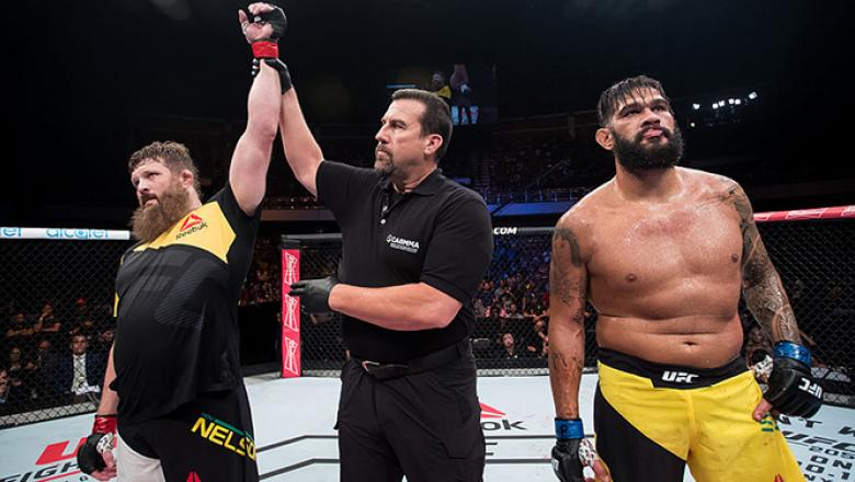 BRASILIA, BRAZIL - SEPTEMBER 24: Roy Nelson of the United States celebrates victory over Antonio Silva of Brazil in their heavyweight UFC bout during the UFC Fight Night event at Nilson Nelson gymnasium on September 24, 2016 in Brasilia, Brazil. (Photo by