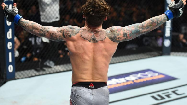CHARLOTTE, NC - JANUARY 27:   Gregor Gillespie celebrates his victory over Jordan Rinaldi in their lightweight bout during a UFC Fight Night event at Spectrum Center on January 27, 2018 in Charlotte, North Carolina. (Photo by Josh Hedges/Zuffa LLC/Zuffa L