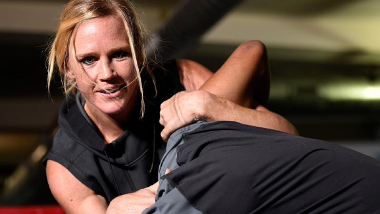CHICAGO, IL - JULY 21:   Holly Holm holds an open workout session for media at the UFC Gym on July 21, 2016 in Chicago, Illinois. (Photo by Josh Hedges/Zuffa LLC/Zuffa LLC via Getty Images)