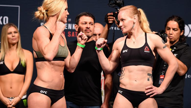 CHICAGO, IL - JULY 22:   (L-R) Opponents Holly Holm and Valentina Shevchenko of Kyrgyzstan face off during the UFC weigh-in at the United Center on July 22, 2016 in Chicago, Illinois. (Photo by Josh Hedges/Zuffa LLC/Zuffa LLC via Getty Images)