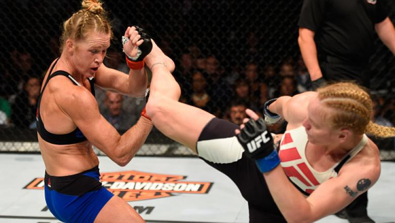 CHICAGO, IL - JULY 23:  (R-L) Valentina Shevchenko of Kyrgyzstan kicks Holly Holm in their women's bantamweight bout during the UFC Fight Night event at the United Center on July 23, 2016 in Chicago, Illinois. (Photo by Josh Hedges/Zuffa LLC/Zuffa LLC via