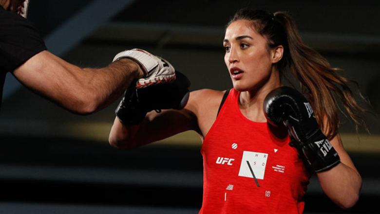 SANTIAGO, CHILE - MAY 16: UFC women's strawweight contender Tatiana Suarez of the United States holds an open training session at Mall Sport on May 16, 2018 in Santiago, Chile. (Photo by Buda Mendes/Zuffa LLC/Zuffa LLC via Getty Images)