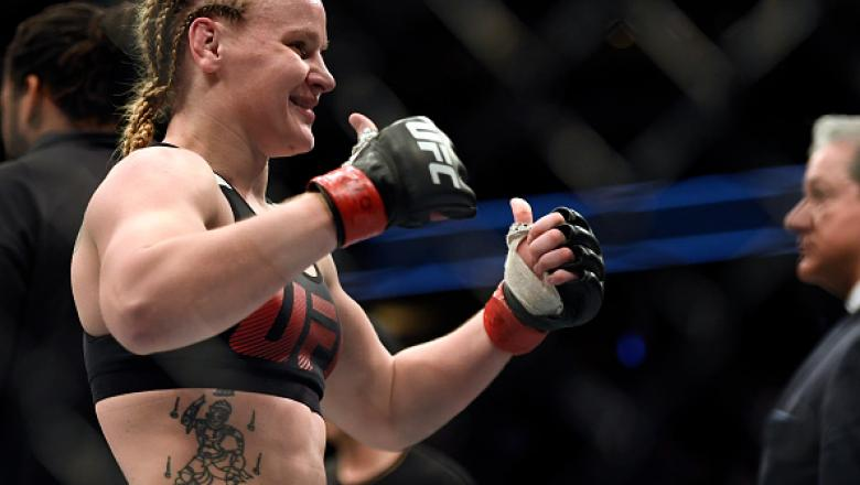DENVER, CO - JANUARY 28: Valentina Shevchenko celebrates her win over Julianna Pena in their Bantamweight bout during the UFC Fight Night January 28, 2017 at Pepsi Center. Shevchenko defeated Pe�a on the submission hold in the second round. (Photo By John