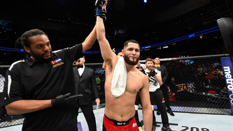 DENVER, CO - JANUARY 28:  Jorge Masvidal celebrates his victory over Donald Cerronein their welterweight bout during the UFC Fight Night event at the Pepsi Center on January 28, 2017 in Denver, Colorado. (Photo by Josh Hedges/Zuffa LLC/Zuffa LLC via Getty