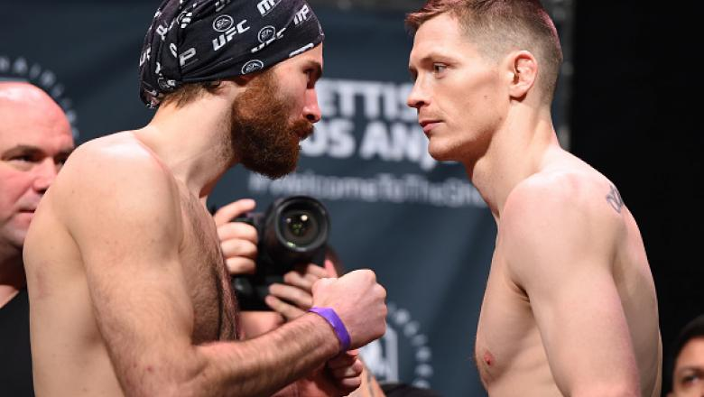 DALLAS, TX - MARCH 13:  (L-R) Opponents Jake Lindsey and Joseph Duffy of Ireland face off during the UFC 185 weigh-ins at the Kay Bailey Hutchison Convention Center on March 13, 2015 in Dallas, Texas. (Photo by Josh Hedges/Zuffa LLC/Zuffa LLC via Getty Im