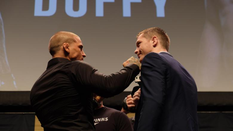 Dustin Poirier and Joe Duffy face off at the Go Big press conference.