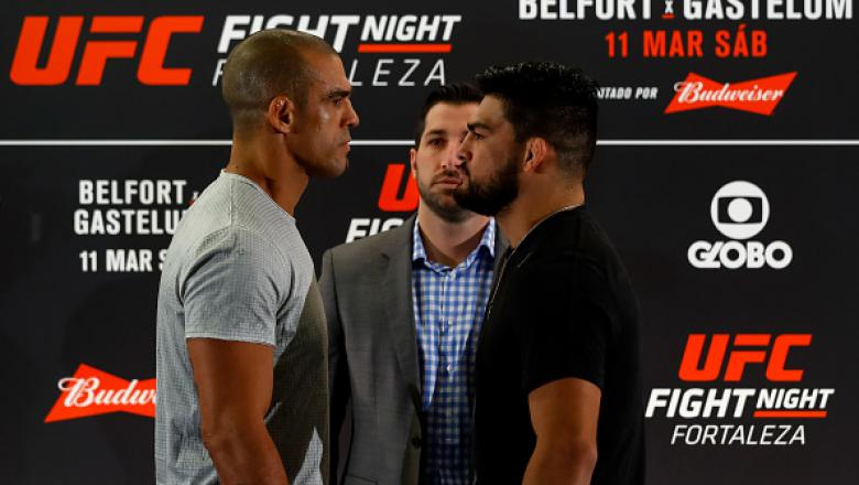 FORTALEZA, BRAZIL - MARCH 09: Middleweight fighters Vitor Belfort (L) of Brazil and Kelvin Gastelum of the United States face off during Ultimate Media Day at Gran Marquise Hotel on March 09, 2017 in Fortaleza, Brazil. (Photo by Buda Mendes/Zuffa LLC/Zuff