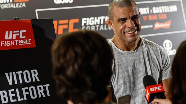 FORTALEZA, BRAZIL - MARCH 09: Middleweight contender Vitor Belfort of Brazil speaks to the media during Ultimate Media Day at Gran Marquise Hotel on March 09, 2017 in Fortaleza, Brazil. (Photo by Buda Mendes/Zuffa LLC/Zuffa LLC via Getty Images)