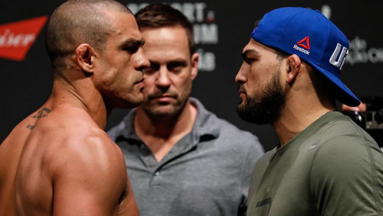 FORTALEZA, BRAZIL - MARCH 10: Opponents Vitor Belfort  (L) of Brazil and Kelvin Gastelum of the United States face off during the UFC Fight Night weigh-in at CFO - Centro de Formaco Olmpica on March 10, 2017 in Fortaleza, Brazil. (Photo by Buda Mendes/Zu