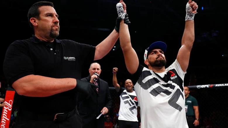 FORTALEZA, BRAZIL - MARCH 11:   Kelvin Gastelum celebrates his knockout victory over Vitor Belfort of Brazil in their middleweight bout during the UFC Fight Night event at CFO - Centro de Forma�co Olimpica on March 11, 2017 in Fortaleza, Brazil. (Photo by