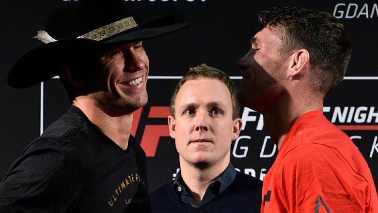 GDANSK, POLAND - OCTOBER 19:  (L-R) Opponents Donald Cerrone and Darren Till of England face off during the UFC Fight Night Media Day inside Ergo Arena on October 19, 2017 in Gdansk, Poland. (Photo by Jeff Bottari/Zuffa LLC/Zuffa LLC via Getty Images)