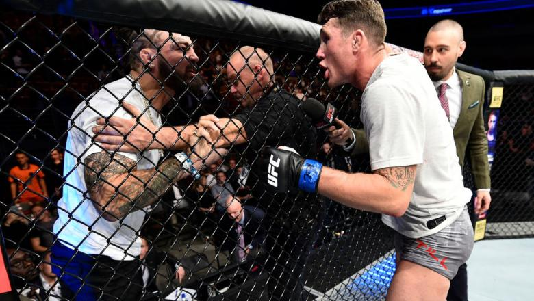 GDANSK, POLAND - OCTOBER 21:  (R-L) Darren Till of England has words with Mike Perry after his victory over Donald Cerrone during the UFC Fight Night event inside Ergo Arena on October 21, 2017 in Gdansk, Poland. (Photo by Jeff Bottari/Zuffa LLC/Zuffa LLC