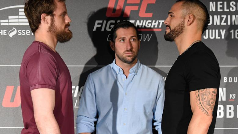 GLASGOW, SCOTLAND - JULY 13:  (L-R) Opponents Gunnar Nelson of Iceland and Santiago Ponzinibbio of Argentina face off during the UFC Ultimate Media Day at the Crowne Plaza Glasgow on July 13, 2017 in Glasgow, Scotland. (Photo by Josh Hedges/Zuffa LLC/Zuff