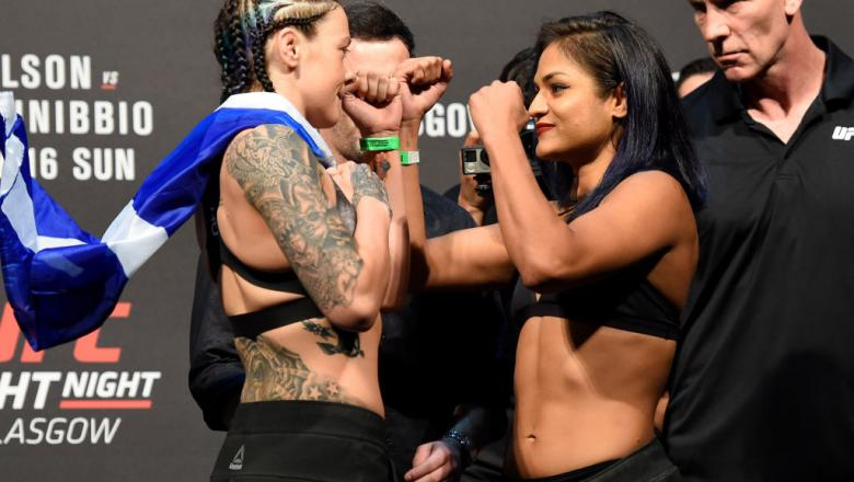 GLASGOW, SCOTLAND - JULY 15:  (L-R) Joanne Calderwood of Scotland and Cynthia Calvillo face off during the UFC Fight Night weigh-in at the SSE Hydro Arena Glasgow on July 15, 2017 in Glasgow, Scotland. (Photo by Josh Hedges/Zuffa LLC/Zuffa LLC via Getty I