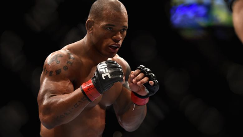 LAS VEGAS, NV - JANUARY 03:  Hector Lombard squares off with Josh Burkman in their welterweight bout during the UFC 182 event on at the MGM Grand Garden Arena January 3, 2015 in Las Vegas, Nevada.  (Photo by Jeff Bottari/Zuffa LLC/Zuffa LLC via Getty Imag