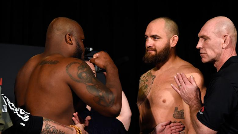 HALIFAX, NS - FEBRUARY 18:  (L-R) Derrick Lewis and Travis Browne face off during the UFC Fight Night weigh-in at the World Trade Convention Centre on February 18, 2017 in Halifax, Nova Scotia, Canada. (Photo by Josh Hedges/Zuffa LLC/Zuffa LLC via Getty I