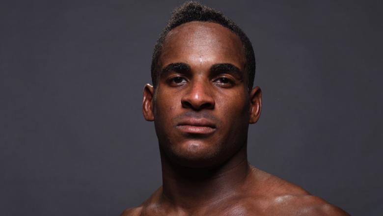HOLLYWOOD, FL - JUNE 27:  Lorenz Larkin poses for a post fight portrait backstage during the UFC Fight Night event at the Hard Rock Live on June 27, 2015 in Hollywood, Florida. (Photo by Mike Roach/Zuffa LLC/Zuffa LLC via Getty Images)