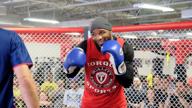 Yoel Romero during the UFC Fight Night Hollywood open workouts at the UFC Gym South Ft. Lauderdale.