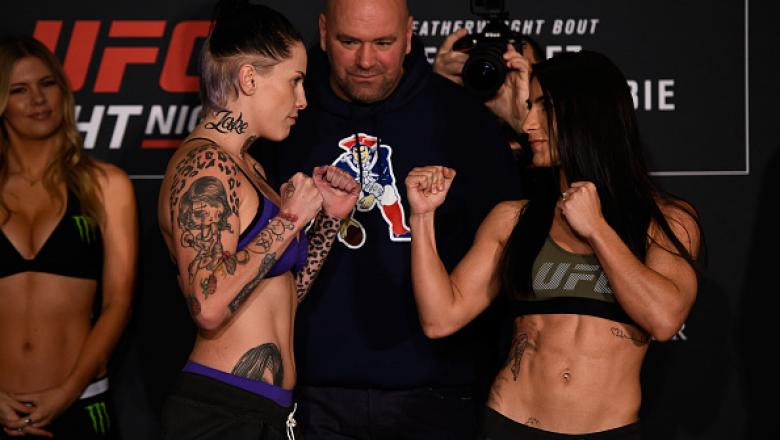 HOUSTON, TEXAS - FEBRUARY 03:  (L-R) Opponents Bec Rawlings of Australia and Tecia Torres face off during the UFC Fight Night weigh-in at the Sheraton North Houston at George Bush Intercontinental on February 3, 2017 in Houston, Texas. (Photo by Jeff Bott