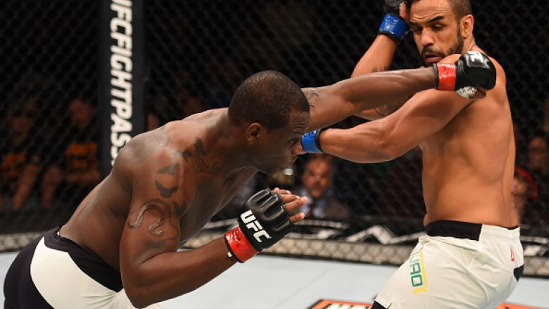 LAS VEGAS, NV - FEBRUARY 06:  (L-R) Ovince Saint Preux fights Rafael 'Feijao' Cavalcante of Brazil in their light heavyweight bout during the UFC Fight Night event at MGM Grand Garden Arena on February 6, 2016 in Las Vegas, Nevada.  (Photo by Josh Hedges/