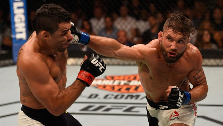 LAS VEGAS, NV - MAY 29: (R-L) Jeremy Stephens punches Renan Barao of Brazil in their featherweight bout during the UFC Fight Night event inside the Mandalay Bay Events Center on May 29, 2016 in Las Vegas, Nevada.  (Photo by Josh Hedges/Zuffa LLC/Zuffa LLC