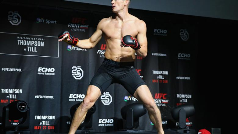 LIVERPOOL, ENGLAND - MAY 24:  Stephen Thompson in action during the UFC Fight Night open workouts at Space by Echo Arena on May 24, 2018 in Liverpool, England.  (Photo by Alex Livesey - Zuffa LLC/Zuffa LLC)