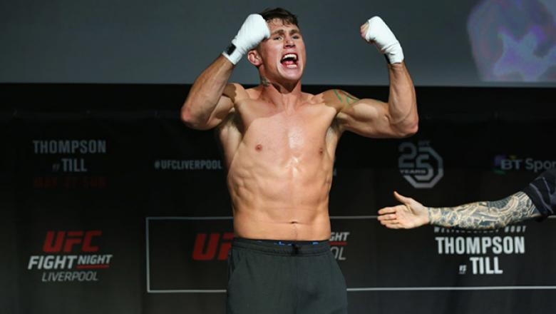 LIVERPOOL, ENGLAND - MAY 24:  Darren Till acknowledges the crowd during the UFC Fight Night open workouts at Space by Echo Arena on May 24, 2018 in Liverpool, England.  (Photo by Alex Livesey - Zuffa LLC/Zuffa LLC)