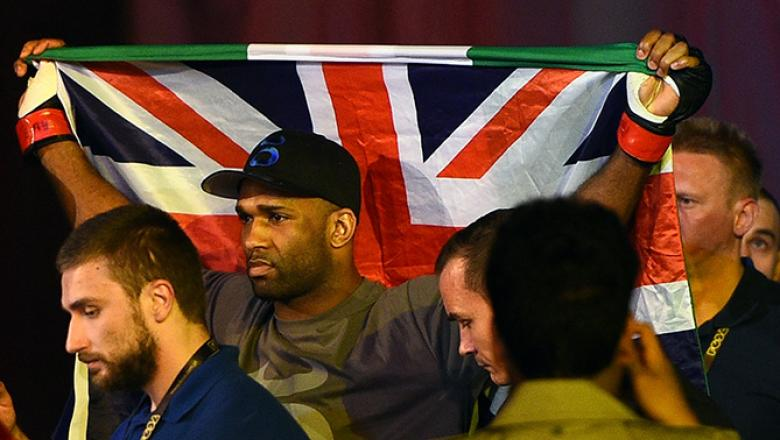 KRAKOW, POLAND - APRIL 11:  Jimi Manuwa of England prepares to enter the Octagon before his light heavyweight fight against Jan Blachowicz of Poland during the UFC Fight Night event at the Tauron Arena on April 11, 2015 in Krakow, Poland. (Photo by Jeff B