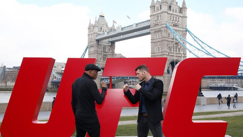 LONDON, ENGLAND - FEBRUARY 25:  Michael Bisping (R) and Anderson Silva face off at Tower Bridge on February 25, 2016 in London, England.  (Photo by Scott Heavey/Zuffa LLC/Zuffa LLC via Getty Images)
