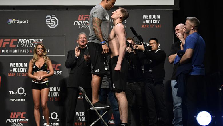 LONDON, ENGLAND - MARCH 16:  (L-R) Fabricio Werdum of Brazil and Alexander Volkov of Russia face off during the UFC Fight Night weigh-in inside The O2 Arena on March 16, 2018 in London, England. (Photo by Brandon Magnus/Zuffa LLC/Zuffa LLC via Getty Image