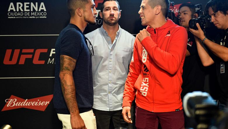 MEXICO CITY, MEXICO - AUGUST 03:  (L-R) Sergio Pettis and Brandon Moreno of Mexico face off for the media during the UFC Ultimate Media Day at the W Hotel on August 3, 2017 in Mexico City, Mexico. (Photo by Jeff Bottari/Zuffa LLC/Zuffa LLC via Getty Image