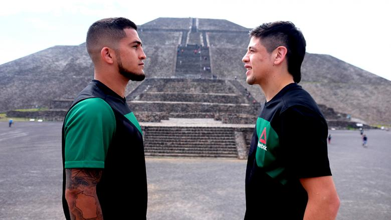 Serio Pettis and Brandon Moreno face off in front of Pyramid of the Sun in Teotihuacán, Mexico on 6/7/17 (Photo by Juan Cardenas for UFC.com)