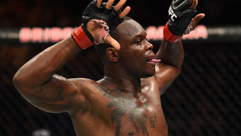 NASHVILLE, TN - APRIL 22:  Ovince Saint Preux celebrates his submission victory over Marcos Rogerio De Lima of Brazil  in their light heavyweight bout during the UFC Fight Night event at Bridgestone Arena on April 22, 2017 in Nashville, Tennessee. (Photo