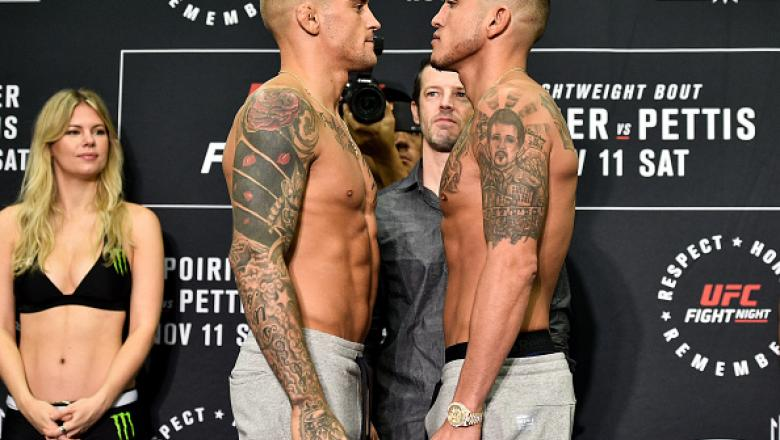 NORFOLK, VA - NOVEMBER 10:  (L-R) Dustin Poirier and Anthony Pettis face off during the UFC Fight Night Weigh-in on November 10, 2017 in Norfolk, Virginia. (Photo by Brandon Magnus/Zuffa LLC/Zuffa LLC via Getty Images)
